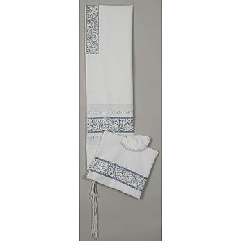 Elegant Soft Cotton Tallit Set - Grey/Silver Elegance
