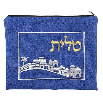 Quality Linen Tallit Bag - Jerusalem Royal Blue