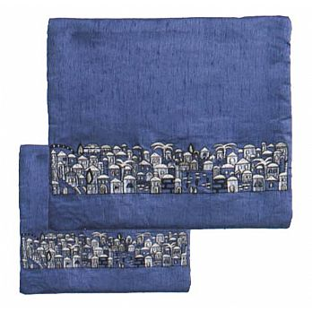Embroidered Tallit/Tefillin Bag - Blue Jerusalem