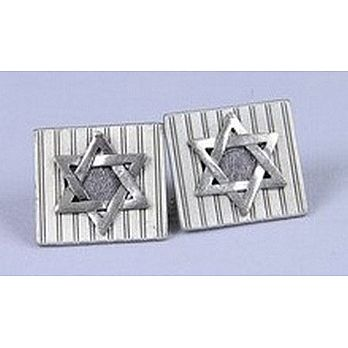 Striped design star of david tallit clip.