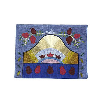 Raw Silk Tefillin Bag - Pomegranates on Blue