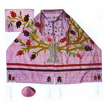 Raw silk Appliquéd Tallit Set - Tree of Life on Pink