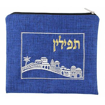 Quality Linen Tefillin Bag - Jerusalem Royal