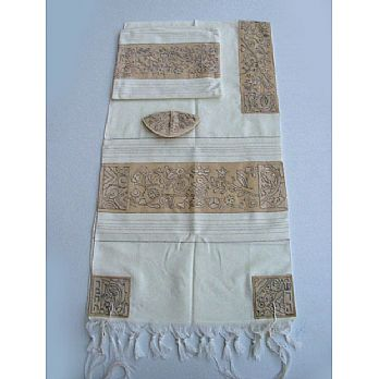 Emanuel All Embroidered Tallit Set - Matriarchs in Silver