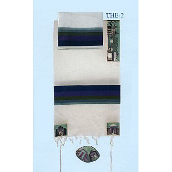 Emanuel Embroidered Tallit Set - Jerusalem in Multi-Blue