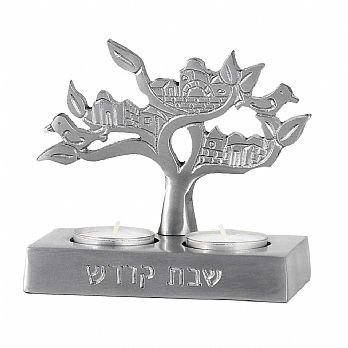 Shabbat  Twin Tea Light Candle Holder - Tree of Life