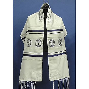 Tree Of Life Tallit Set - Blue Silver