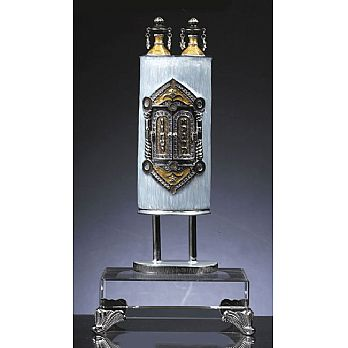 Presentation Torah Sculpture on Stunning Base - Blue