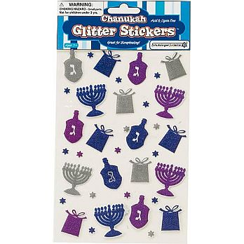 Hanukkah Stickers with a glittering Sparkle