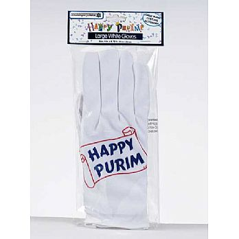 Happy Purim White Gloves - Large