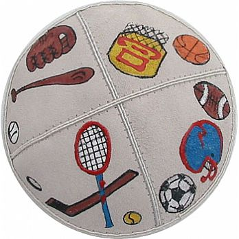 Puff Painted Suede Kippah - Assorted Sports