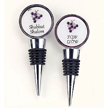 Decorative Cork Wine Stopper - Shabbat Shalom