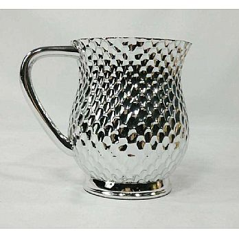 Metal Coated Acrylic Wash Cup, Honeycomb design- Silver