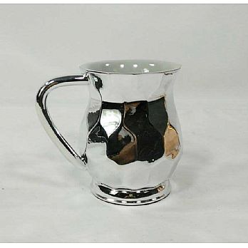 Metal Coated Acrylic Wash Cup, Hexagon design-- Silver