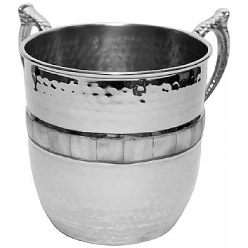 Nickel Hammered Wash Cup with Mother Of Pearl
