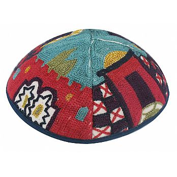 Luxurios Hand Embroidered Kippah - Jerusalem Color