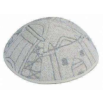 Luxurious Hand Embroidered Kippah - Jerusalem Silver
