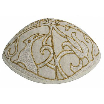 Hand Embroidered Kippot - Papercut in Gold