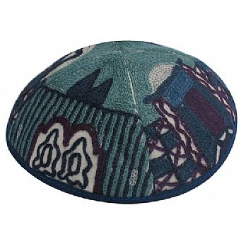 Luxurios Hand Embroidered Kippah - Jerusalem Blue