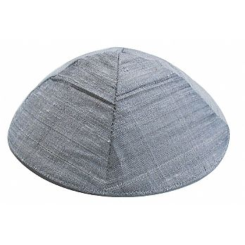 Raw Silk Kippot - Silver Gray