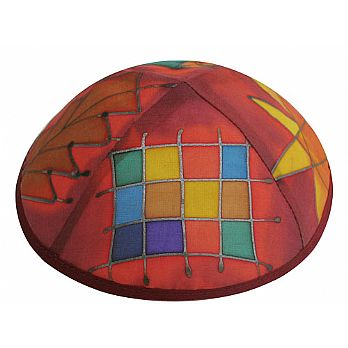 Hand Painted Silk Kippah - Choshen Colored