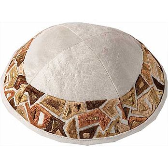 Machine Embroidered Kippah by Yair Emanuel - Gold Mosaic