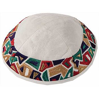Machine Embroidered Kippah by Yair Emanuel - Multi Colors