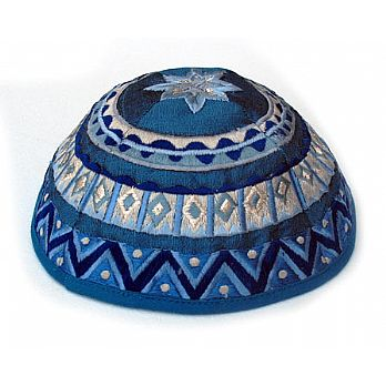Elegant Embroidered Cotton Kippah - Blue