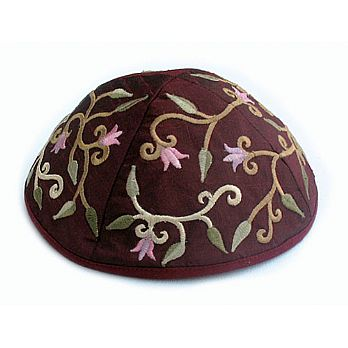 Machine Embroidered Kippot - Maroon/Wine