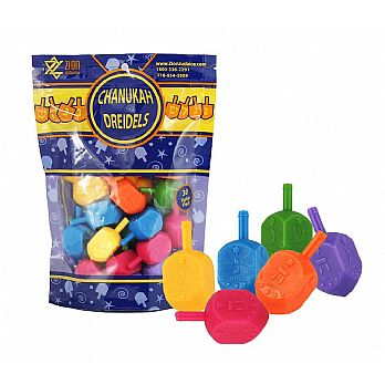 30 Pack Medium Plastic Dreidels w/English Transliteration - Ziplock