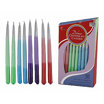 45 Deluxe Hanukkah Candles Multi Color - Silver Tips