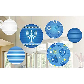 Hanukkah Ball Lantern Decoration Ceiling Mount 6 Set