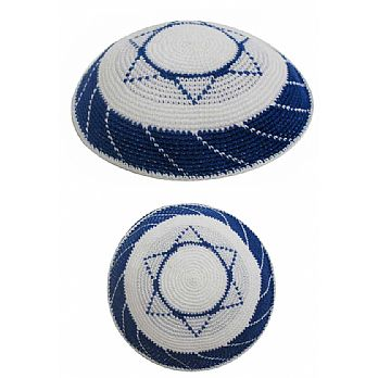 Personalized Knit Kippot - White & Blue Star