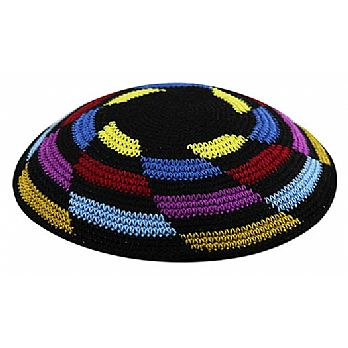 Multi Color Knit Kippot with Imprint - Whirlpool