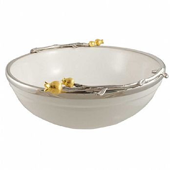 Ceramic Bowl with a Silver/Gold Pomegranate Trim - Large