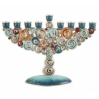Hand Crafted Swirls &Twirls Menorah
