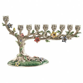 Stunning Bonsai Menorah - Silver/Green