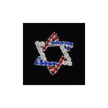 Star of David Lapel Pin with Crystals