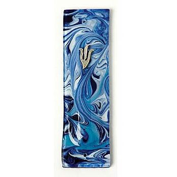 Fused Glass Mezuzah Cover - Marble Blue/Turquoise