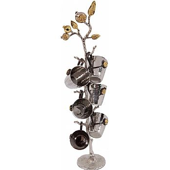 Emanuel Set of 6 Hammered Liquor Cups on Pomegranate Branch Stand