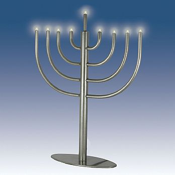 Traditional Low Volt Electric Menorah - Pewter