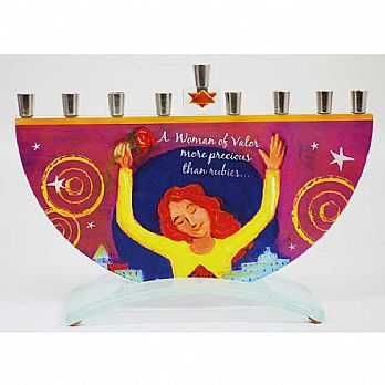 Woman of Valor Menorah by Tamara Baskin - Red Rose